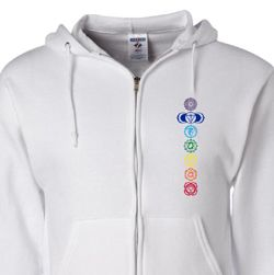 Mens Yoga Full Zip Hoodie 7 Colored Chakras