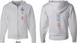 Mens Yoga Hoodie Chakra Words Front and Back Full Zip Hoody