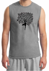 Mens Yoga Shirt Black Tree Pose Muscle Tee T-Shirt