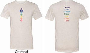 Mens Yoga Shirt Chakra Words Front and Back Tri Blend Crewneck Shirt