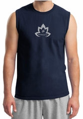 Mens Yoga Shirt Grey Namaste Lotus Muscle Tee T-Shirt