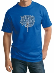 Mens Yoga Shirt Grey Tree Pose Tall Tee T-Shirt