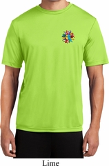Mens Yoga Shirt Hippie Sun Patch Pocket Print Moisture Wicking Tee