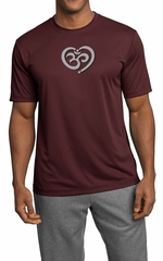 Mens Yoga Shirt OM Heart Moisture Wicking Tee T-Shirt