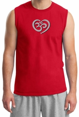 Mens Yoga Shirt OM Heart Muscle Tee T-Shirt