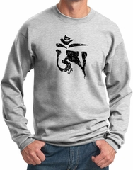 Mens Yoga Sweatshirt Black Tibetan Om Sweat Shirt