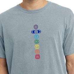 Mens Yoga T-shirt 7 Colored Chakras Pigment Dyed Shirt