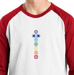 Mens Yoga T-shirt 7 Colored Chakras Raglan Shirt