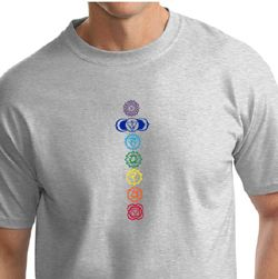 Mens Yoga T-shirt 7 Colored Chakras Tall Shirt