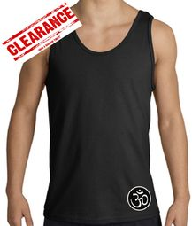 Mens Yoga Tank � Aum Patch Sanskrit Bottom Print Adult Tanktop