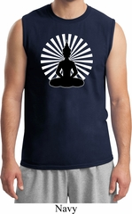 Mens Yoga Tee Meditating Buddha Muscle Shirt