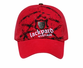 Metal Emblem on Distressed Patch Hat - Lackpard Cap - Red