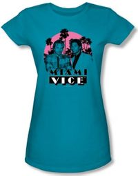 Miami Vice Juniors T-shirt Don't Do Anything Stupid Turquoise Tee