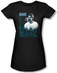 Miami Vice Juniors T-shirt Looking Out Black Tee Shirt