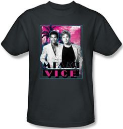 Miami Vice Kids T-shirt Gotchya Tubbs and Crockett Youth Charcoal Tee