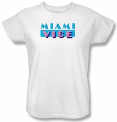 Miami Vice Ladies T-shirt Logo Classic White Tee Shirt