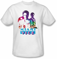 Miami Vice T-shirt Crockett And Tubbs Adult White Tee Shirt