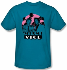 Miami Vice T-shirt Don't Do Anything Stupid Adult Turquoise Tee Shirt