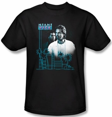 Miami Vice T-shirt Looking Out Adult Black Tee Shirt
