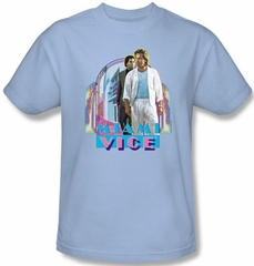 Miami Vice T-shirt Miami Heat Adult Light Blue Tee Shirt