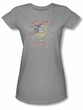 Mighty Mouse Juniors T-shirt At Your Service Girly Silver Tee