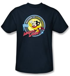 Mighty Mouse T-shirt - Planet Cheese Adult Navy Blue Tee