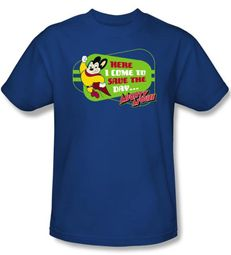 Mighty Mouse T-shirt - TV Series Here I Come Adult Royal Blue Tee
