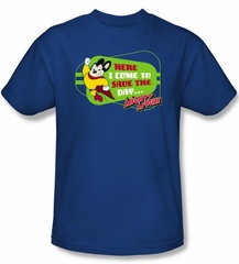 Mighty Mouse T-shirt - TV Series Here I Come Youth Kids Royal Blue Tee