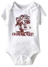 Military Bulldog Ooorah Funny Baby Romper White Infant Babies Creeper