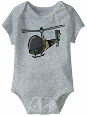 Military Helicopter Funny Baby Romper Grey Infant Babies Creeper