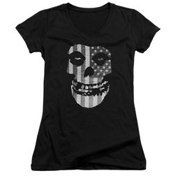 Misfits Juniors V Neck Shirt Fiend Flag Black T-Shirt
