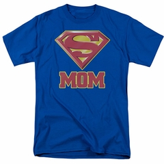 Mom T-shirt - Super Mom Mother's Adult Royal Blue Tee