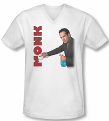 Monk Shirt Slim Fit V Neck Clean Up White Tee T-Shirt