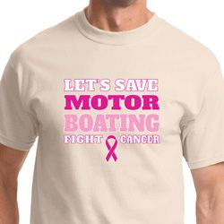 Motor Boating Mens Breast Cancer Awareness Shirts