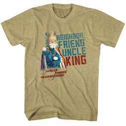 Mr. Mister Rogers Shirt Friend Uncle King Heather Khaki T-Shirt