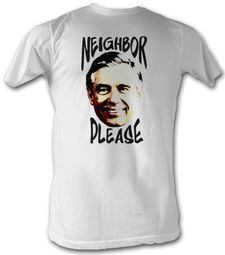 Mr. Mister Rogers T-shirt Neighbor Please Adult White Tee Shirt