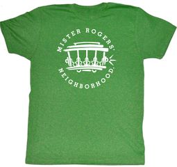 Mr. Mister Rogers T-shirt Ride This Trolly Adult Green Heather Shirt