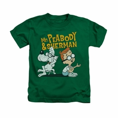 Mr Peabody & Sherman Shirt Kids Deep Conversation Kelly Green Youth Tee T-Shirt
