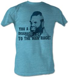 Mr. T T-Shirt Disgrace Fade 2 A-Team Adult Turquoise Heather Tee Shirt