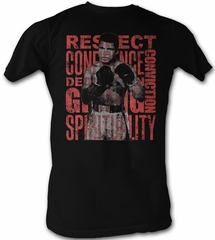 Muhammad Ali T-shirt Boxer Respect Adult Black Tee Shirt