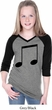 Music 8th Note Girls Three Quarter Sleeve V-Neck Raglan Shirt