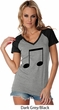 Music 8th Note Ladies Contrast V-Neck Shirt