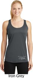 Mustang with Grill Bottom Print Ladies Dry Wicking Racerback Tank Top