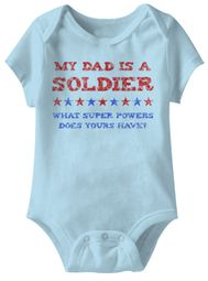 My Dad Is A Soldier Funny Baby Romper Blue Infant Babies Creeper
