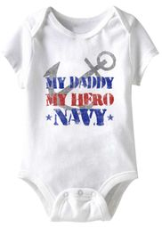 My Daddy My Hero Navy Funny Baby Romper White Infant Babies Creeper