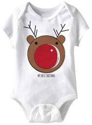 My First Christmas Funny Baby Romper White Infant Babies Creeper