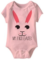 My First Easter Bunny Funny Baby Romper Light Pink Infant Babies Creeper