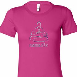 Namaste Lotus Pose Ladies Yoga Shirts