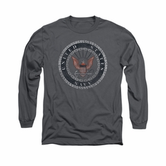 Navy Shirt Navy Rope Emblem Long Sleeve Charcoal Tee T-Shirt