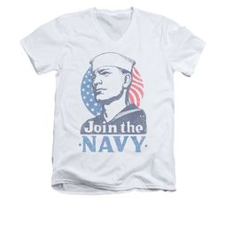 Navy Shirt Slim Fit V-Neck Navy Join The Navy White T-Shirt